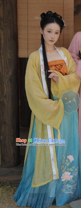 China Ancient Village Girl Hanfu Dress Historical Costumes Traditional Song Dynasty Young Lady Clothing