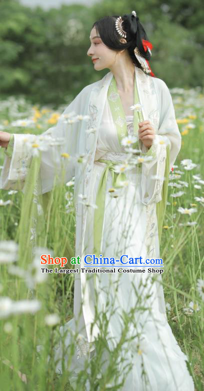 China Traditional Song Dynasty Palace Lady Historical Costumes Ancient Young Woman Hanfu Dress
