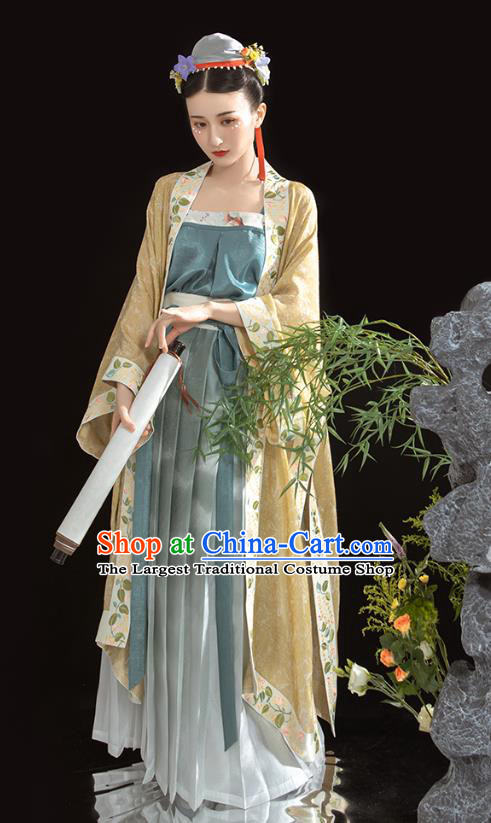 China Traditional Song Dynasty Imperial Concubine Historical Clothing Ancient Court Beauty Embroidered Hanfu Dress