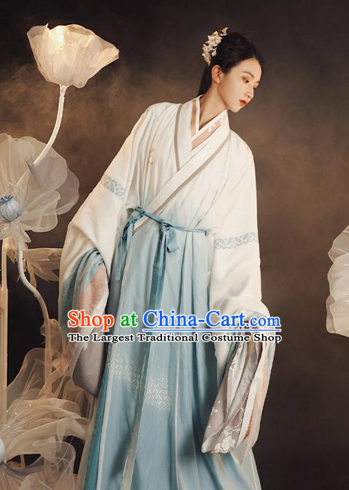 China Traditional Jin Dynasty Court Beauty Historical Clothing Ancient Imperial Concubine Hanfu Dress Apparels