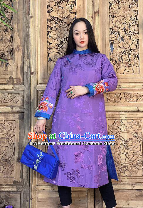 Chinese Traditional Tang Suit Outer Garment Dust Coat Embroidery Purple Silk Long Gown