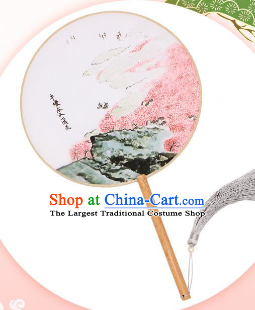 China Handmade Printing Peach Blossom Silk Fan Traditional Palace Fan Classical Circular Fan