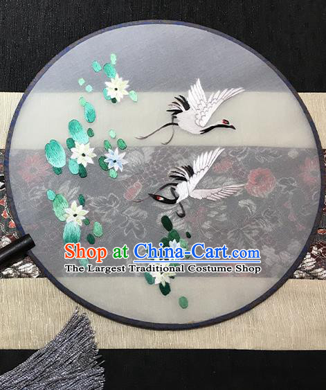 China Traditional Embroidered Crane Lotus Palace Fan Classical Dance Silk Fan Handmade Circular Fan