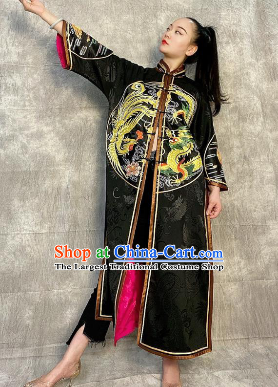 Chinese National Black Silk Dust Coat Traditional Tang Suit Overcoat Embroidered Costume