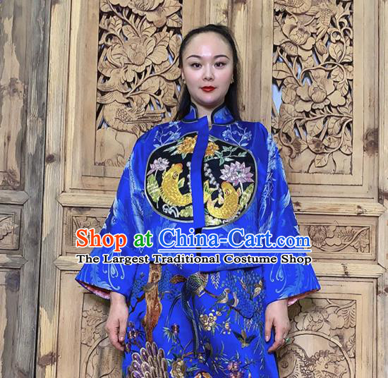 Chinese National Costume Tang Suit Outer Garment Traditional Embroidered Lotus Fish Blue Silk Jacket