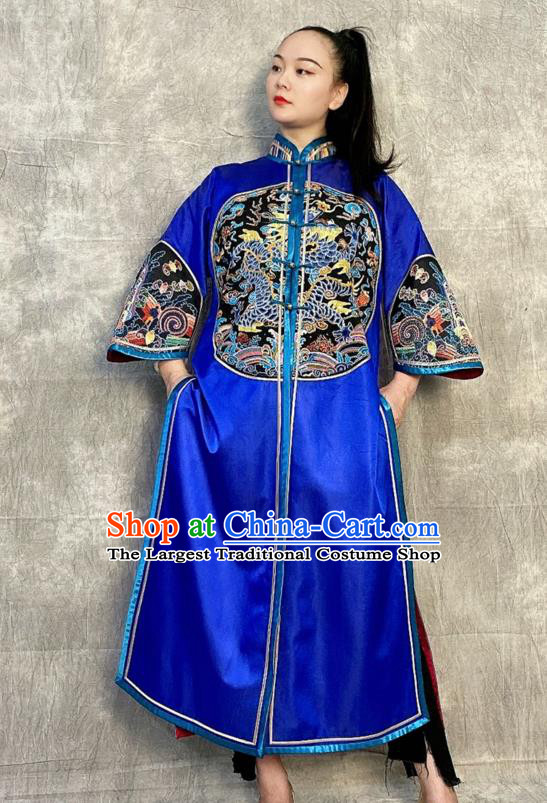 Chinese Tang Suit Overcoat Embroidered Royalblue Silk Dust Coat Traditional National Costume