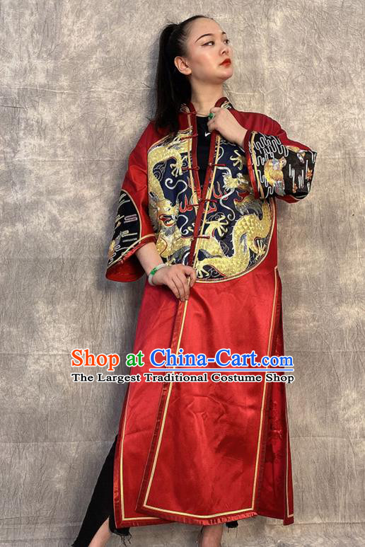 Chinese Traditional National Costume Tang Suit Overcoat Embroidered Dragon Red Silk Dust Coat