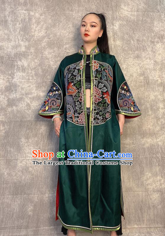 Chinese Embroidered Dragon Deep Green Silk Dust Coat Traditional National Costume Tang Suit Overcoat
