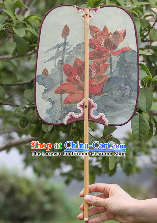 China Traditional Printing Red Lotus Palace Fan Classical Dance Fan Handmade Hanfu Silk Fan