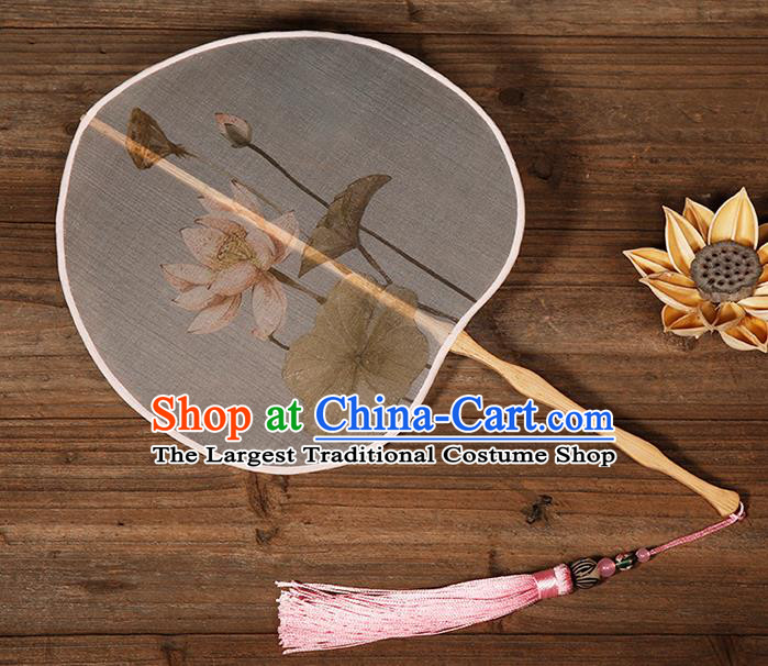 China Traditional Printing Lotus Palace Fan Classical Dance Hanfu Fan Handmade Silk Fan