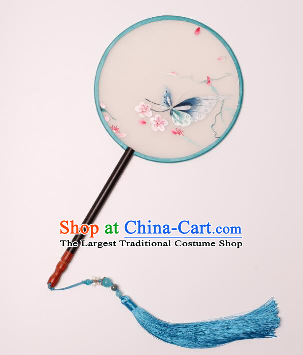 China Traditional Hanfu Silk Circular Fan Handmade Embroidered Butterfly Plum Fan Classical Palace Fan