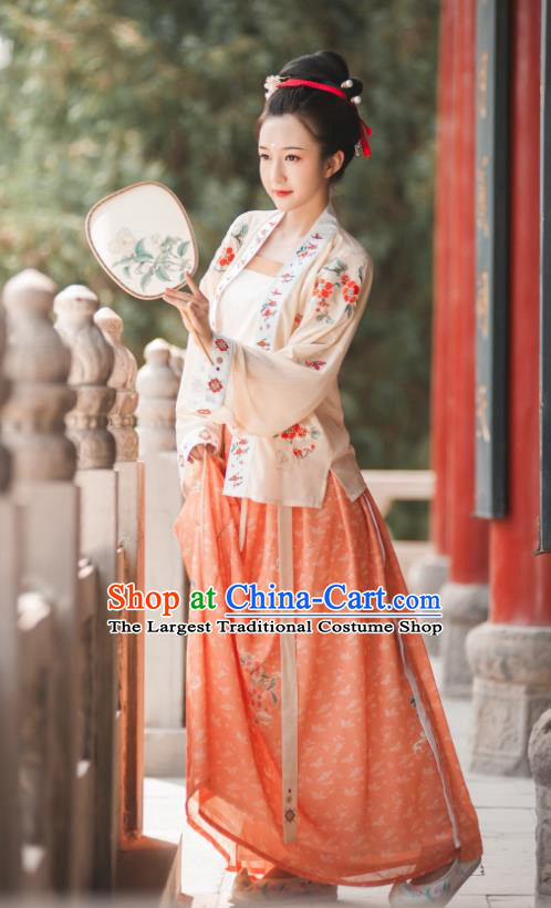 China Ancient Imperial Concubine Hanfu Clothing Traditional Song Dynasty Court Woman Costumes