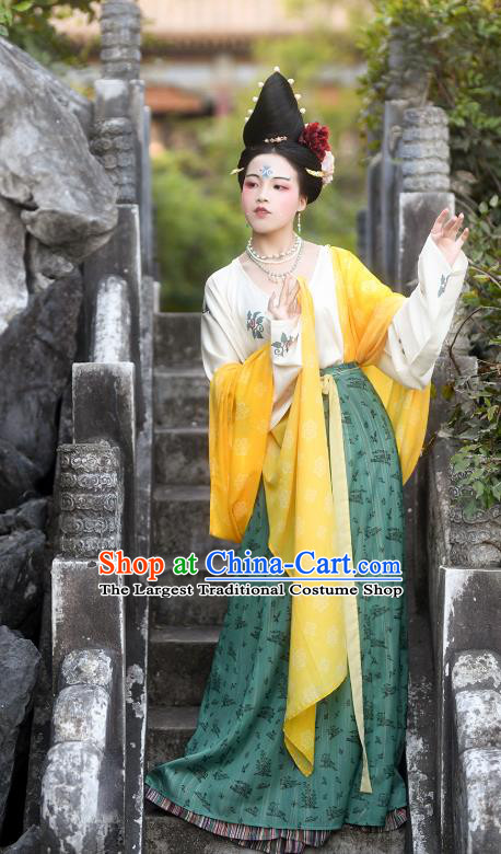 Traditional China Tang Dynasty Court Lady Historical Costumes Ancient Imperial Consort Hanfu Dress