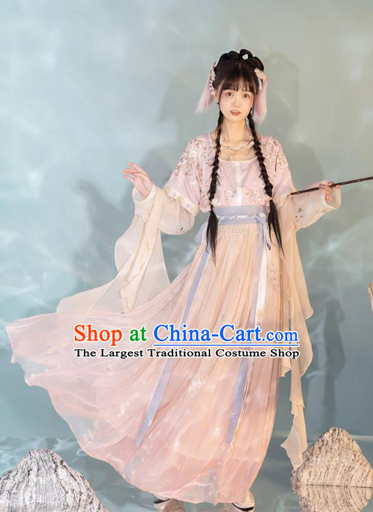 China Ancient Young Girl Hanfu Dress Traditional Tang Dynasty Village Lady Historical Clothing
