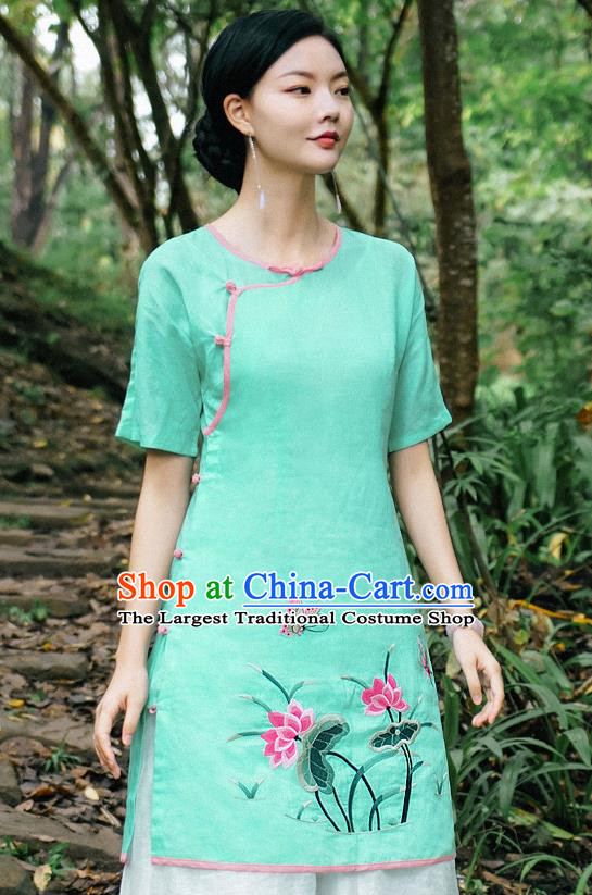 China National Woman Shirt Clothing Tang Suit Upper Outer Garment Traditional Embroidered Lotus Green Blouse