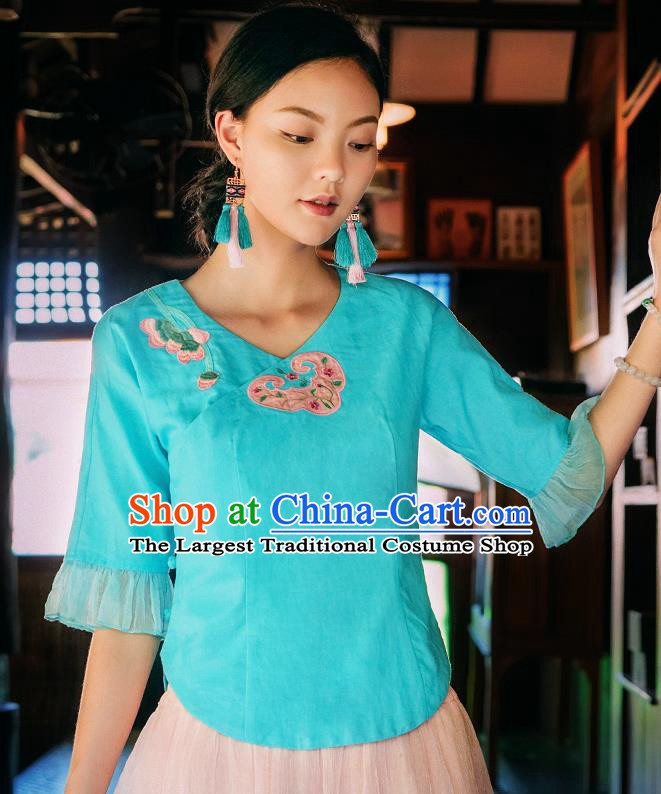 China Traditional Embroidered Blue Blouse National Woman Shirt Clothing Tang Suit Upper Outer Garment