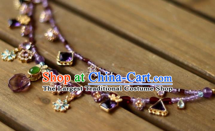 China Traditional Song Dynasty Amethyst Tassel Necklace Handmade Ancient Imperial Concubine Necklet Accessories