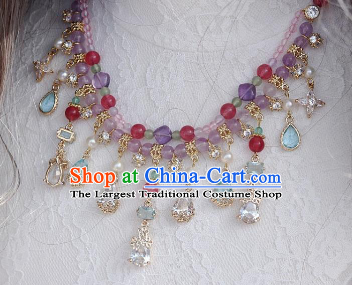 China Traditional Ming Dynasty Amethyst Necklace Handmade Ancient Princess Crystal Tassel Necklet Accessories