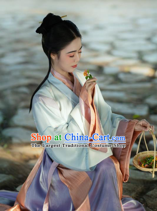 China Ancient Civilian Woman Hanfu Dress Traditional Jin Dynasty Young Lady Historical Costumes
