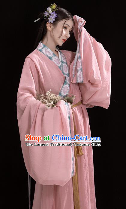 China Traditional Jin Dynasty Palace Lady Historical Clothing Ancient Court Princess Pink Hanfu Dress