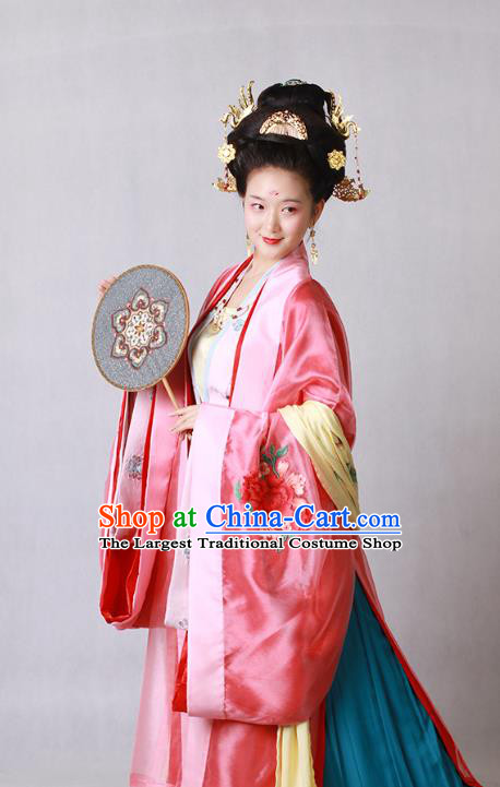 China Ancient Tang Dynasty Court Beauty Embroidered Hanfu Dress Wedding Historical Costumes and Headpieces Complete Set