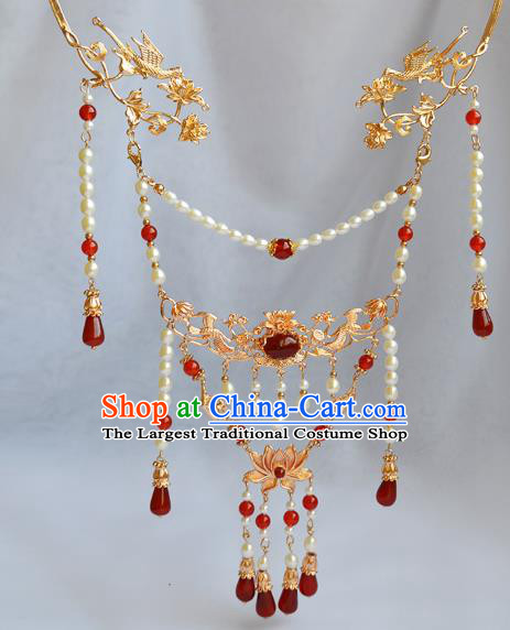 Chinese Ancient Princess Agate Tassel Necklace Handmade Traditional Ming Dynasty Pearls Lotus Necklet Jewelry