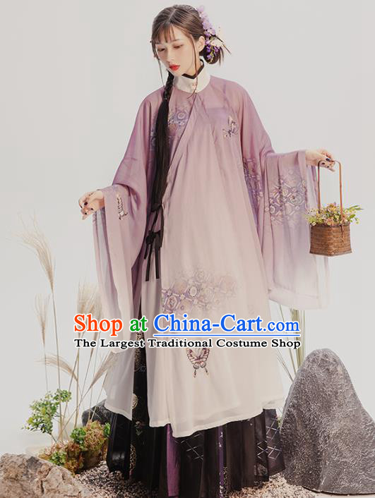 China Traditional Ming Dynasty Nobility Lady Historical Costumes Ancient Patrician Beauty Hanfu Dress Full Set