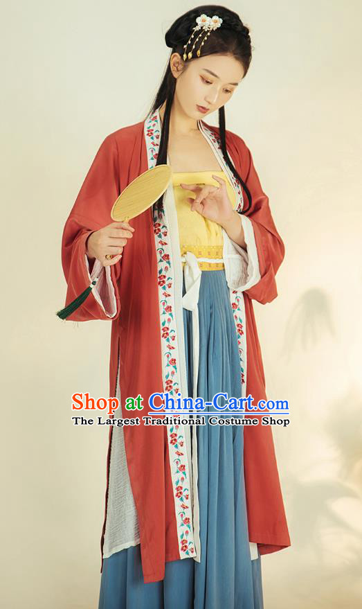 China Ancient Royal Infanta Hanfu Apparels Traditional Song Dynasty Nobility Lady Historical Clothing Complete Set