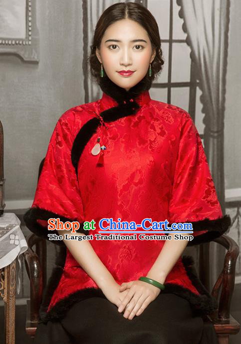 Chinese Tang Suit Winter Red Silk Outer Garment Clothing National Cotton Wadded Jacket