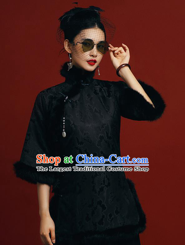 Chinese Tang Suit Overcoat Outer Garment Clothing National Winter Black Silk Cotton Wadded Jacket